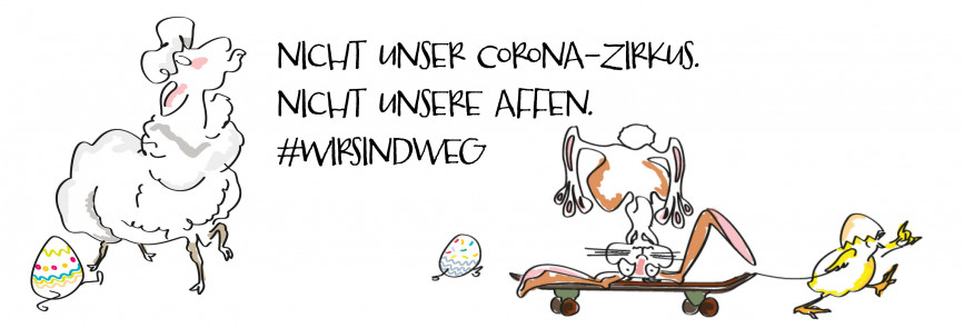"Illustration: Die Oster-""Gang"" (Osterlamm, Osterhase und bemalte Ostereier, angeführt vom Osterküken) hat die Nase voll. Corona, Comicart"